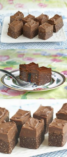 This Raw Fudge Vegan Brownie Recipe looks amazing -- rich and dense, with a fudgy frosting. Use the stevia and xylitol options, and cut these into 1-inch squares for a special Phase 3 splurge (2 squares equals one healthy-fat serving). --------> http://tipsalud.com  #Raw sweets | Postres #crudiveganos