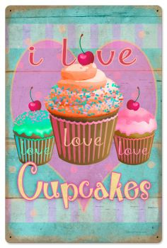 $58.97 Retro Cupcake Love Tin Sign 16 x 24 Inches.    From the Retro Planet licensed collection, this Cupcake Love vintage metal sign measures 16 inches by 24 inches and weighs in at 4 lb(s). This vintage metal sign is hand made in the USA using heavy gauge american steel and a process known as sublimation, where the image is baked into a powder coating for a durable and long lasting finish. It then undergoes a vintaging process by hand to give it an aged look and feel. This vintage metal…