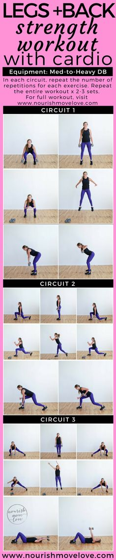 Challenging legs and back strength workout. Circuit workout that incorporates cardio exercises. Total body workout done in under 30  minutes. At home workout for busy women + busy moms. Lower body strength exercise + plyometric exercise + back strength exercise.  Medium to heavy set of dumbbells. Calf, squat, jump, lunge, row, windmill. | www.nourishmovelove.com