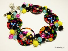 Lovely colorful shell crystal charm bracelet by TillaDesigns, $22.95