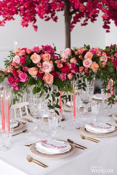 Bougainvillea Wedding At The Great Hall - Rachel A. Wedding Table Centerpieces, Flower Centerpieces, Wedding Decorations, Centrepieces, Centerpiece Ideas, Elegant Wedding, Dream Wedding, Wedding White, Fuschia Wedding