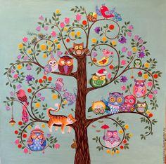 Kalamkari Painting, Frida Art, Art Carte, School Murals, Indian Folk Art, Found Art, Motif Floral, Owl Art, Mural Painting