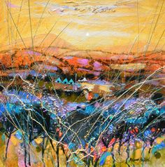 Deborah Phillips_Angus Tapestry_Hand Embellished Signed Limited l Scottish Contemporary Art Colorful Paintings, Beautiful Paintings, Abstract Landscape, Landscape Paintings, Landscapes, Types Of Art, Pattern Art, Painting Inspiration, Altered Art