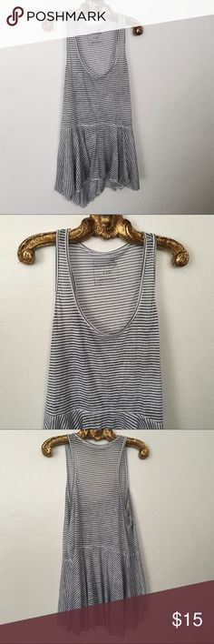We The Free White Irma Peplum Blue Stripe Top EUC Free People Striped Knit Tank Top, Size Large in excellent like new condition Free People Tops Tank Tops