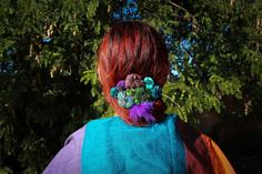 Hand-made hair-clip in silk   Purple & Green by TaklaMakanCouture