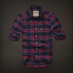 NWT NEW HOLLISTER By Abercrombie MENS GUYS COLLARED CASUAL SHIRT FLANNEL PLAID