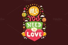 All You need is Love Vintage Quote by Decorwith.me Shop on Creative Market