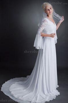 A-Line Empire Taille Chiffon Bodenlanges Brautkleid mit V-Ausschnitt mit Schleier - Bild 1