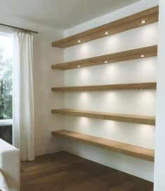 Almost done with these floating shelves with recessed lighting Boho Living Room, Living Room With Fireplace, Living Room Decor, Fireplace Wall, Fireplace Ideas, Floating Shelves With Lights, Floating Shelves Kitchen, Mountain House Decor, Dressing Room Decor
