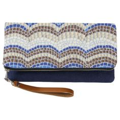 #personalize - #Blue Mosaic Fold-Over Clutch
