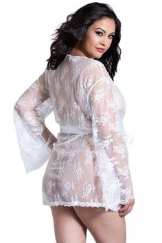 Robe de Chambre Grande Taille Lingerie Femme Sexy Blanche Dentelle Pas Cher  www.modebuy. e34dab6fd38