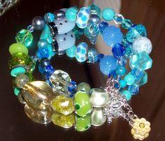 Spring Blue/Green 2 Tier Glass Gemstones Sterling Pearl More Bracelet | evezbeadz - Seasonal on ArtFire