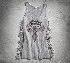 It's the hottest look in the saddle or on the sidewalk. Mixed metal studs give this women's sleeveless top a party feel perfect for festivals, concerts, and rallies. | Harley-Davidson Women's Fringe Tank