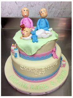 Christening cake for triplets! http://www.kellylou.com