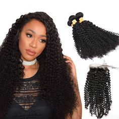 Marchqueen Indian Virgin Hair 4 Bundles Human Curly Hair with Closure Natural Black Color 1b#