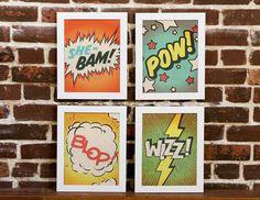 Items similar to Comic Strip Prints - Set of Four - Shebam, Pow, Blop, Wizz - Serge Gainsbourg Inspired on Etsy French Pop, Serge Gainsbourg, Vintage Comics, Brigitte Bardot, Comic Strips, Graphic Art, Kids Room, Illustration Art, Typography