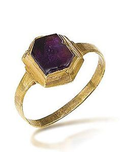 A 13th/14th century ring The hexagonal slice of amethyst in a closed-back gold setting; found in North Yorkshire