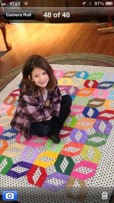 """Avery ask me to make her a quilt.  When I ask for specifics of color/size that she wanted she said """"Nanna, I just want a quilt big enough to cover 'My Little Self'. So This is Avery's """"My Little Self"""" quilt. She picked the pattern and the colors. 2013"""
