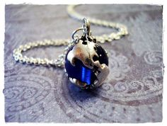 Tiny Sapphire Blue Earth Globe Charm Necklace in Antique Pewter with a Delicate 18 Inch Silver Plated Cable Chain