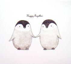 Cute Penguin Love Original Illustration Print 5x7 Grey by mikaart, $10.99