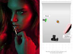 With Color Gels Use a beauty dish on a strobe (red) and a simple flash (green).Use a beauty dish on a strobe (red) and a simple flash (green). Colour Gel Photography, Photography Lighting Techniques, Photography Lighting Setup, Portrait Lighting, Photo Lighting, Light Photography, Photography Tutorials, Beauty Photography, Portrait Photography