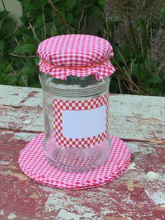 Backformen - Marmeladendeckel aus Karostoff  10 Stück rot - ein Designerstück von Baumstoffe bei DaWanda