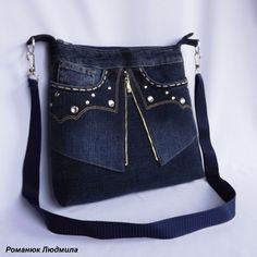 Denim Handbags, Denim Tote Bags, Denim Purse, Blue Jean Purses, Techniques Couture, Denim Ideas, Denim Crafts, Old Jeans, Recycled Denim
