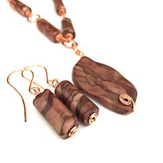 Natural Stone Link Necklace Stone Earrings by DesignsByAlesia