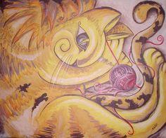 GATO AMARELO - Tinta Acrílica sobre tela caixote. 50X60
