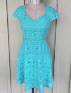 adeddd3b8b New NoBo Easter Dress Seafoam Green Blue Crochet Minidress Small summer  Skater