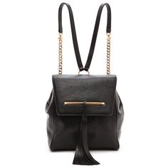 B Brian Atwood Juliette Small Backpack - Black (1.095 BRL) ❤ liked on Polyvore featuring bags, backpacks, hardware bag, real leather backpack, b brian atwood, leather daypack and flap bag