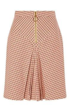 Bordeaux Pleated Checked Yoke Skirt by MANOUSH for Preorder on Moda Operandi Source by Latest African Fashion Dresses, African Print Fashion, Skirt Outfits, Dress Skirt, African Print Skirt, African Wear, African Dress, Work Attire, Classy Dress