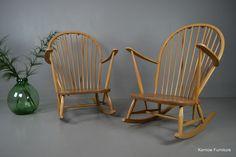 Pair Vintage Blonde Ercol Rocking Chairs