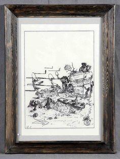 """DALÍ, SALVADOR (1904-1989). """"In the cemetery at Scutari"""". Litografía. Ilustración para """"Fantastic Memories"""" de Maurice Sandoz. Justificada H.C., firmada en plancha con anagrama, y con firma a lápiz. Ed. Doubleday Doran. Nueva York, 1944. Edición 2.500. Ref.: Michler/Löpsinger Bd. II, Nr. 1591 (15). Med.: 22,5x16 cm."""