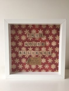 Personalised Christmas Family Frame with Wooden Scrabble Lettering, Many Patterned Papers to choose from, decoration, home, Gift, Santa,