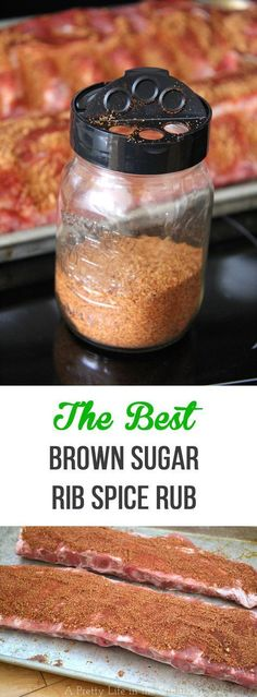 This Brown Sugar Rib Spice Rub is simple to make, and so delicious you'll never make ribs again without it! Apply this rub to the ribs, then them bake for a few hours resulting in the most flavourful and tender ribs ever. I like to finish th Bbq Rib Rub, Rub For Pork Ribs, Rub For Pork Tenderloin, Ribs On Bbq, Pork Rub, Pork Rib Rub Recipe, Bbq Rub Recipe, Pork Ribs Rub Recipe Brown Sugar, Dry Rub Recipes