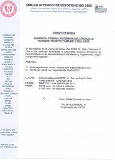 NUEVA DIRECTIVA CPDP QUE PRESIDE ITALO VILLARREAL CONVOCA ASAMBLEA ORDINARIA PARA 10 DE ENERO DE 2017