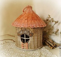 "Купить Короб-домик ""Welcome"" - скворечник, розовый, кантри, шебби, птичий домик, домик гномика"
