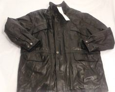New CHARLES KLEIN Mens Black Leather Jacket Black 1XLT Extra Large Tall