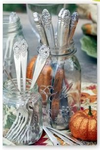 Canning Jars as Flatware Holders