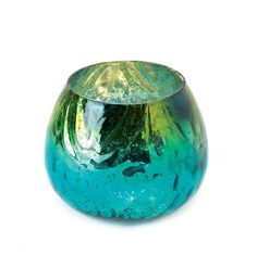 "4.25"" Blue Green Peacock Colored Glass Candle Holder Decorative Accent Vase"