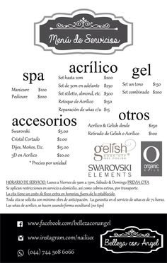 Menu de servicios  Salon service menu Home Nail Salon, Nail Salon Design, Nail Salon Decor, Beauty Salon Decor, Beauty Salon Interior, Beauty Bar, Nail Saloon, Nails Bar, Nail Prices