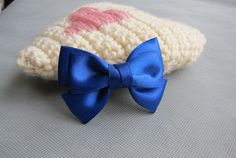 Gotta have this bow!    Classic Small Royal Blue Hair Bow Clip - 3 inches/7.5cm - made with 1 inches/2.5cm Satin Ribbon. $2.50, via Etsy.