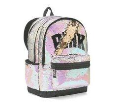 Victoria Secret PINK Sequin Bling Campus Backpack ( NEW). Cute Backpacks For School, Cute Mini Backpacks, Girl Backpacks, Mochila Nike, Mochila Jansport, Pink Bling, Pink Sequin, Gold Sequins, Victoria Secret Backpack