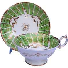 Minton Porcelain Cup & Saucer, Marked Green & Sons, Antique 19th C from owensantiques on Ruby Lane