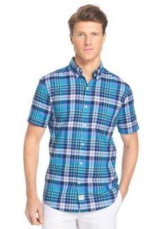 IZOD  Short Sleeve Chambray Multi Plaid Shirt