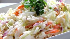 This salad has the perfect coleslaw taste. Very, very creamy with a bit of sweet/tartness stirred in. Everything is stirred into one bowl, and then chilled before serving. Makes six generous servings. Good Food, Yummy Food, Tasty, Yummy Recipes, Recipies, Coleslaw Mix, Wonderful Recipe, Vegetable Side Dishes, Original Recipe