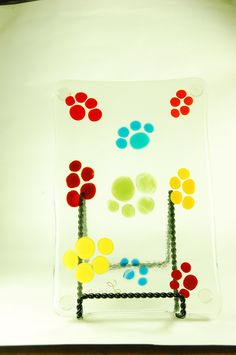 """6x9"""" Crazy Paws Glass Fusion cheese board"""