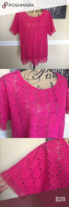 Pink Chico's Blouse This is a gorgeous blouse from Chico's, size 2. It is a crochet style with beautiful detail design. In excellent condition. Chico's Tops Blouses