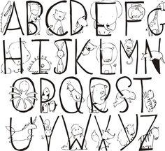 Animal Alphabet Monogram with Name Wall Vinyl k-018 by back40life